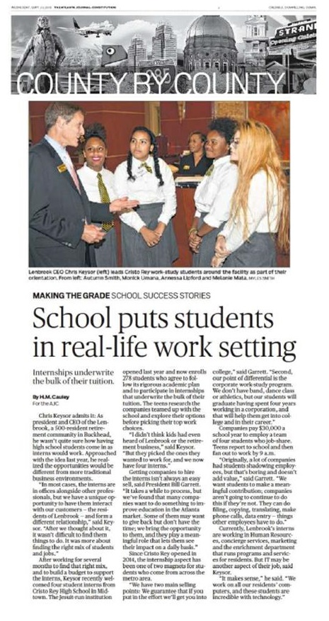 Making The Grade School Puts Students In Real Life Work Environment
