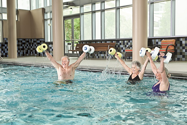 Water aerobics is just one of several classes held in the heated, indoor pool.