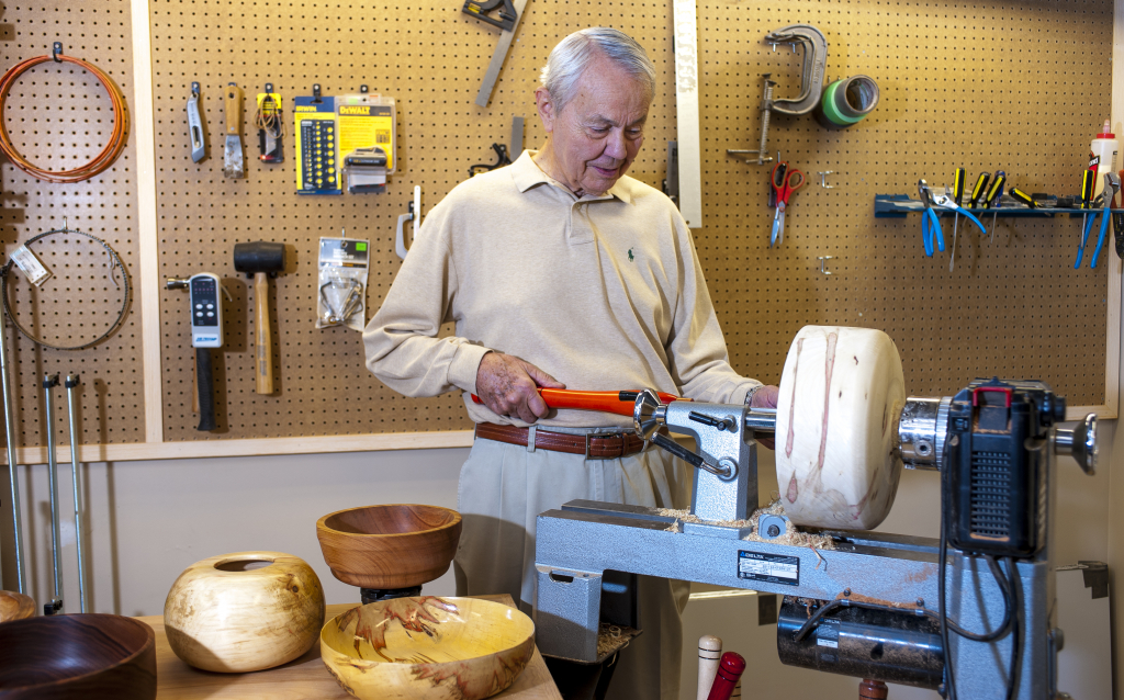 Resident bowl maker in the Wood Shop at Lenbrook.